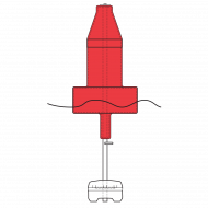 Model B2413ULN Extra Heavy Duty Red (Nun) Float Collar Channel Marker with External Ballast