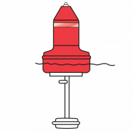 Model B5NPRFW Red (Nun) Float Collar Channel Marker with Internal Side Ballast