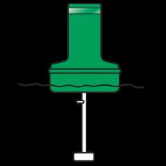 Model B1428ULG Green Float Collar Channel Marker with External Ballast