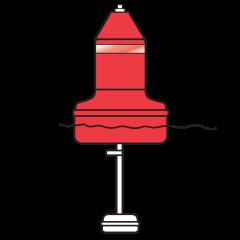 Model B1428ULN Red (Nun) Float Collar Channel Marker with External Ballast