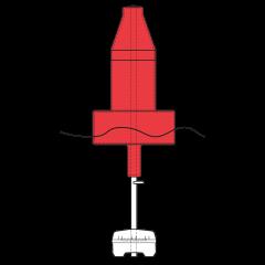 Model B2413ULN Extra Heavy Duty Red (Nun) Float Collar Channel Marker with External Ballast